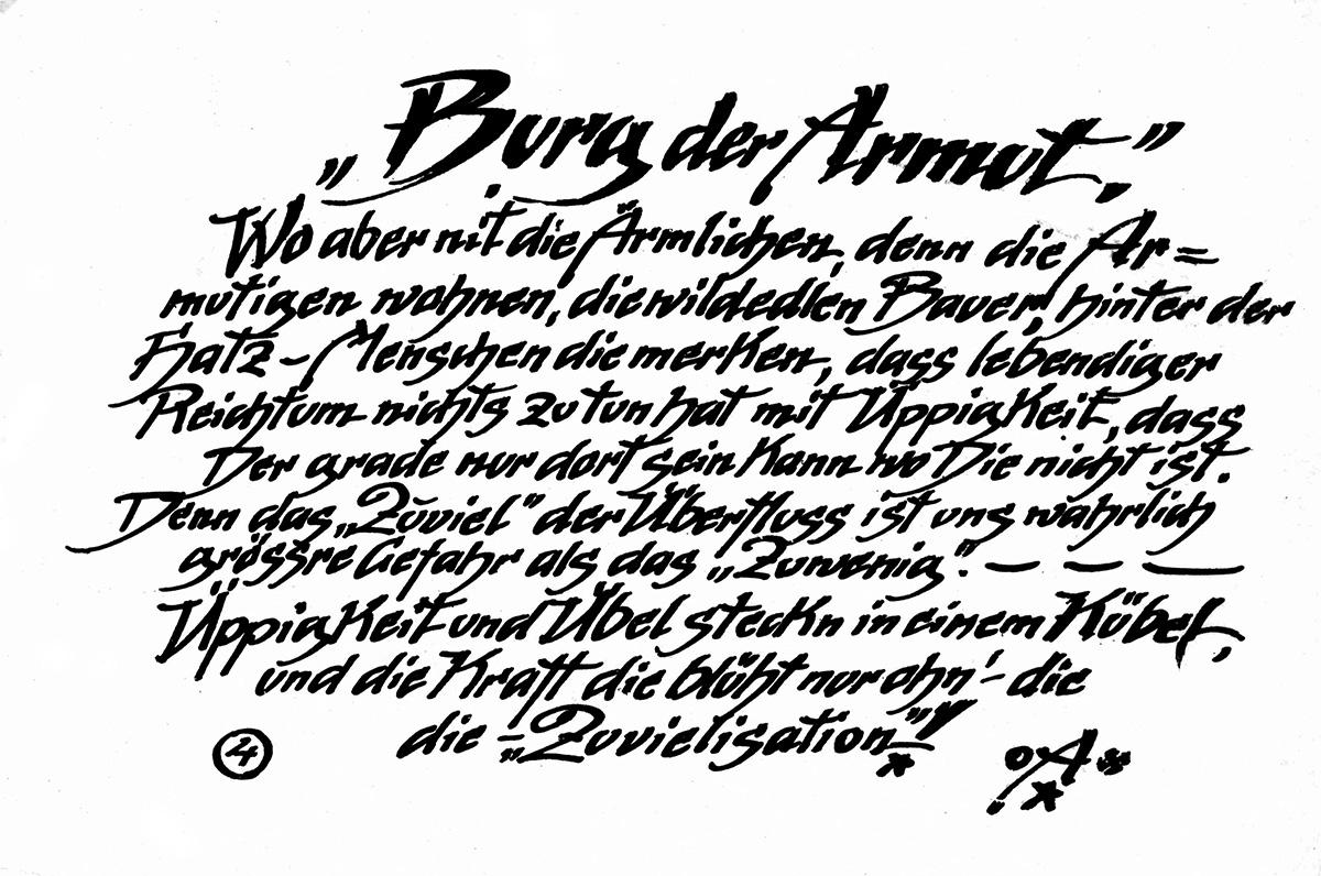 DER FAHRENDE RAUM | Wortbild und Gedicht Gusto Gräser, courtesy Mohr-Villa Stadtteilarchiv Freimann -