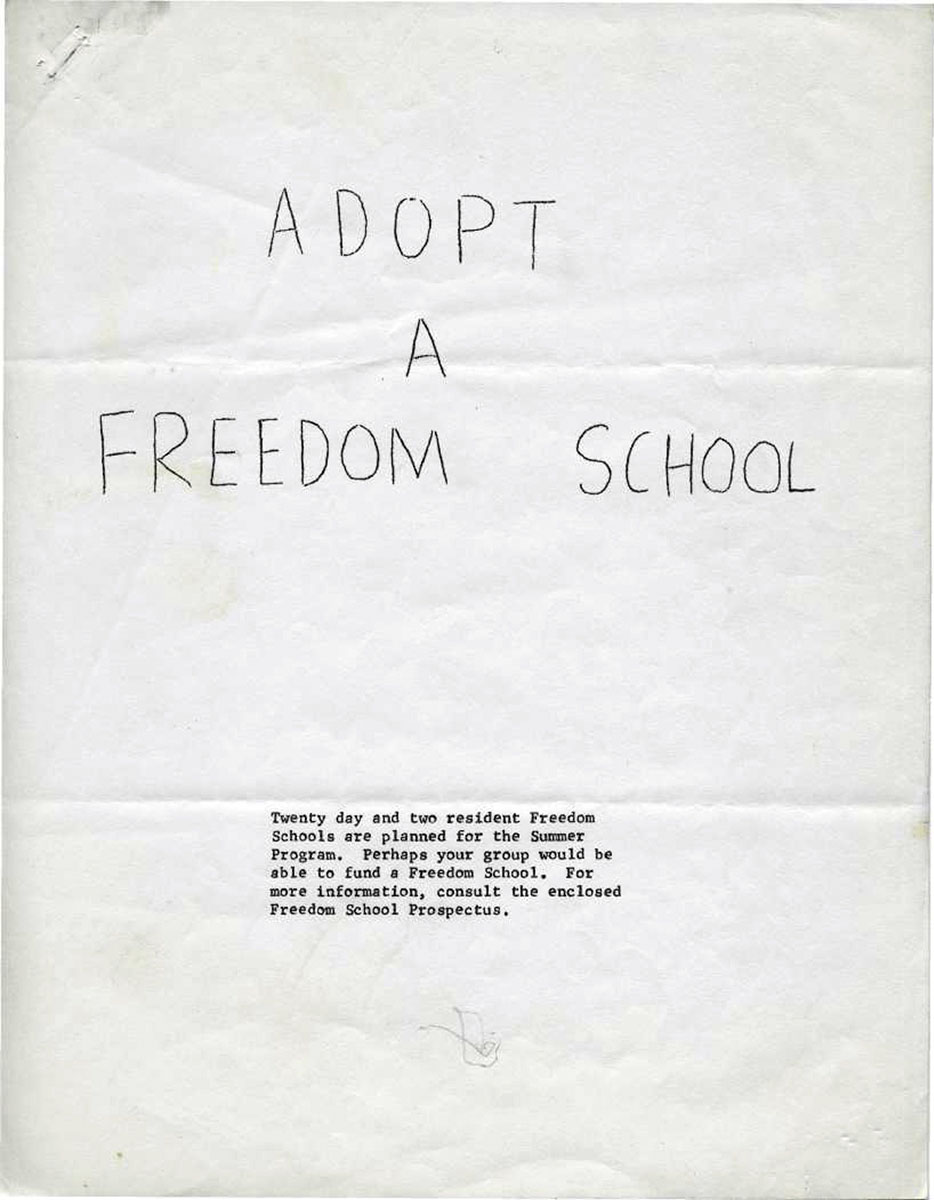DER FAHRENDE RAUM | Adopt a Freedom School, Prospectus for Summer Freedom School Program in Mississippi / Cover (Alicia Kaplow papers, 1964–1968;  Archives Main Stacks, Mss 507, Box 1, Folder 4), Kaplow--Friends of SNCC–General, 1964–1967, undated, author:  Alicia Kaplow, Courtesy of the Freedom Summer Digital Collection at The Wisconsin Historical Society. -