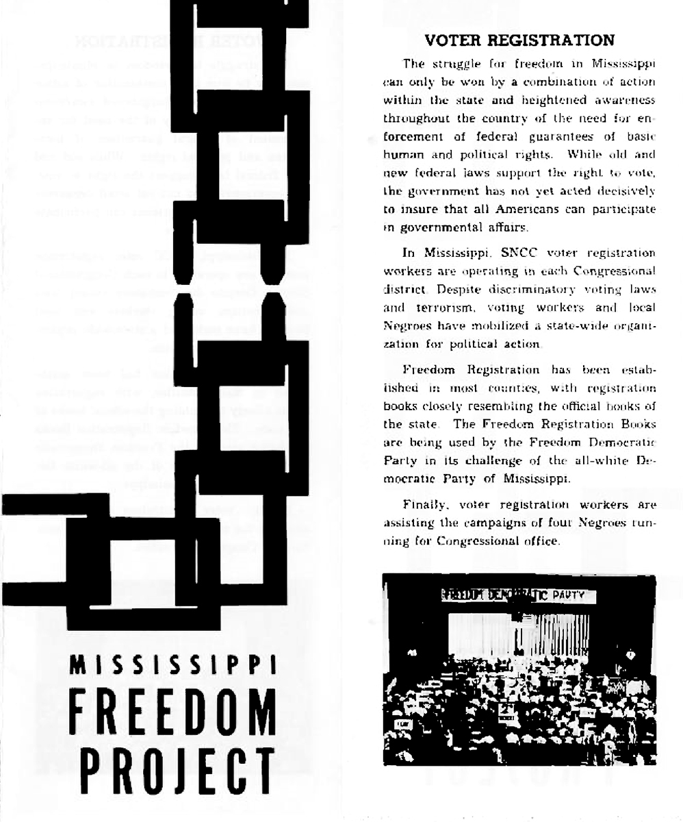 DER FAHRENDE RAUM | Mississippi Freedom Project (Robert Beech Papers, 1963–1972; Archives Main Stacks, Mss 945, Box 7, Folder 6),  Beech--Student Non-Violent Coordinating Committee, 1963–1964, undated, author: Robert Beech,  Courtesy of the Freedom Summer Digital Collection at The Wisconsin Historical Society. -