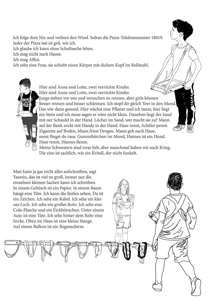 DER FAHRENDE RAUM | Geh Schreiben!, Jonas Beutlhauser, Collage aus Text (Kinder auf Gehschreibe) und Bild (thinkpen auf tablett), 594×420 mm, 2018 -