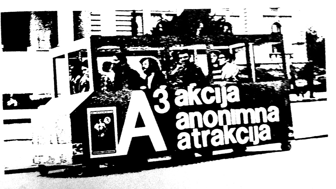 DER FAHRENDE RAUM | A3 Group for Action and Anonimous Attraction, Autobus (BUS) , Zagreb, 27-28.06.1972. close up, Courtesy: Student Cultural Center -